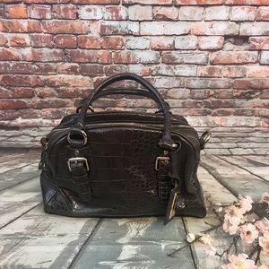 Liz Claiborne Brown Faux Croc Shoulder Bag Purse